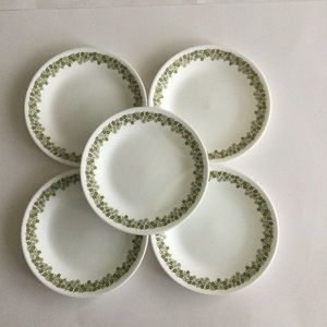 Corelle Spring Blossom Green saucers set of 5